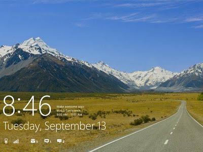 tela de bloqueio do Windows 8